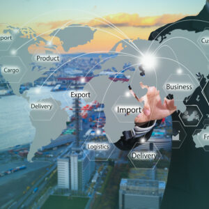 Businessman working with virtual interface connection map of global network for logistic,import,export background. business, technology, internet, businessman pressing logistics button on virtual screens