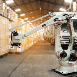 Industry 4.0 Robot concept .The robot arm is working smartly in the shipping department of the factory.